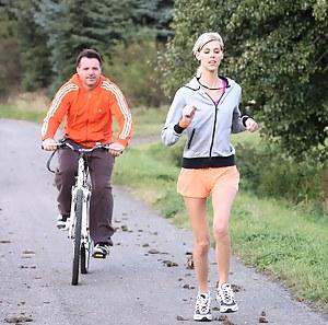 A bike rider fucking a hot teenage running babe hardcore