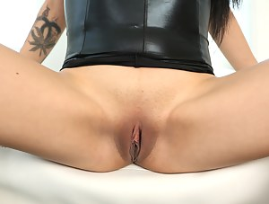 Lovely chick wearing high heels and sexy leather dress is demonstrating fuck skills with excitement. She is getting banged in doggy style move.
