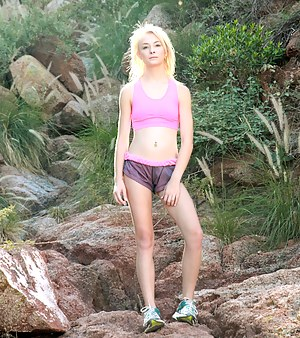 Shy sweetheart brings out the voyeur in you as she masturbates outdoors