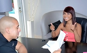 This chick is always ready for hardcore sex with the new partner. Now she is fucking with her boss making him offer her a very good job.