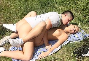 Sweet nude blonde stroking her boyfriends massive penis