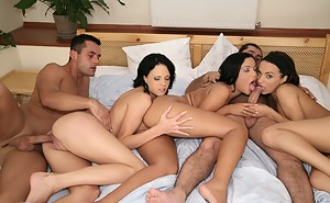 Juicy brunettes are enjoying awesome group fuck with their strong partners in the bathroom. They are getting banged and jizzed on wildly.