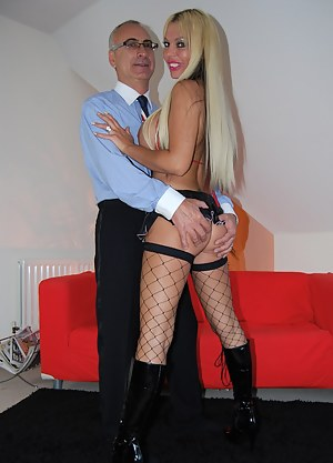 Blonde bimbo playing with senior jim his stiff erection