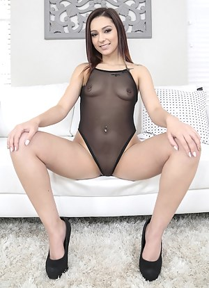 Lovely Latina slut is happy to take part in this dirty reality. She is taking care of extremely big cock and getting her tiny tits covered with sperm.
