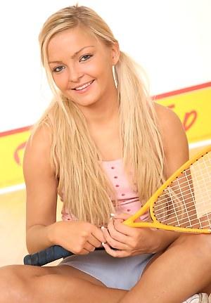 Petite squashing teenage blonde toys her tight pussyhole