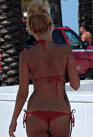Sunny afternoon is the best time to fuck slutty babe wearing sexy bikini. The guy is offering her some cash and penetrating her holes in his car.