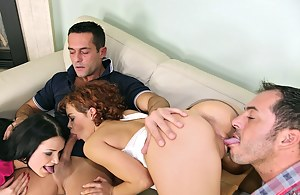 Strong guys having massive boners are making these babes happy. They are drilling their holes and pushing dicks into their mouths.