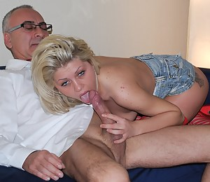 Blonde bimbo get anally fucked by a senior and his cock