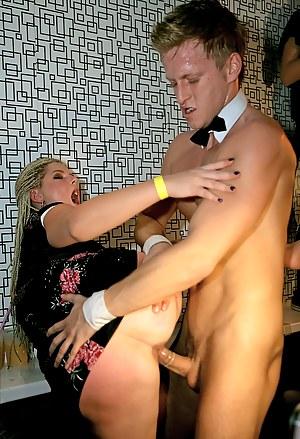 Daring sweethearts sucking massive dicks at a sex party