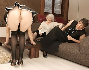 Three old and young lesbian lovers have a party